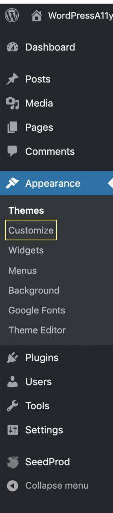 customize link in the WordPress Admin sidebar