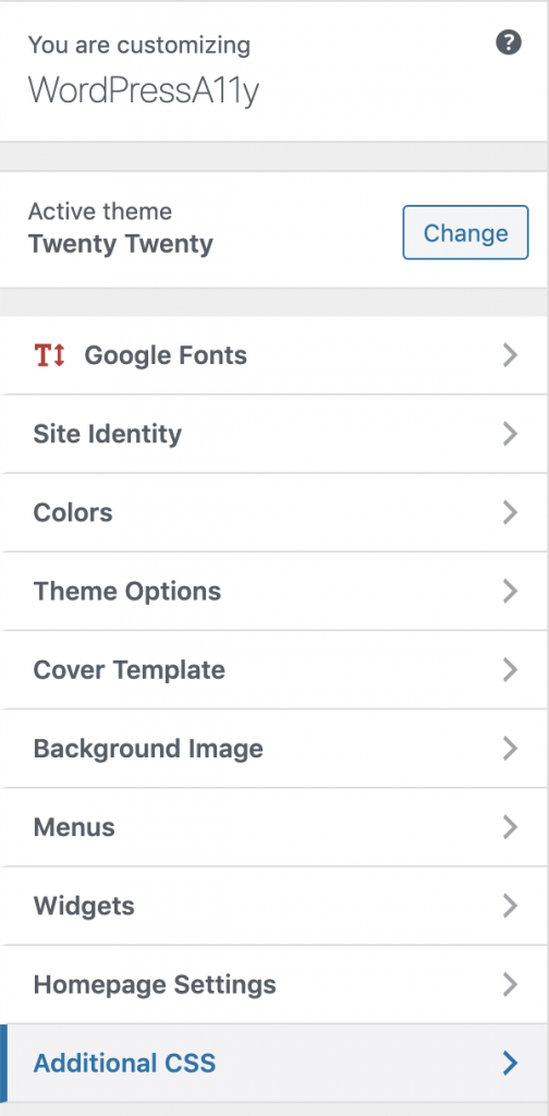 Additional CSS to customize theme