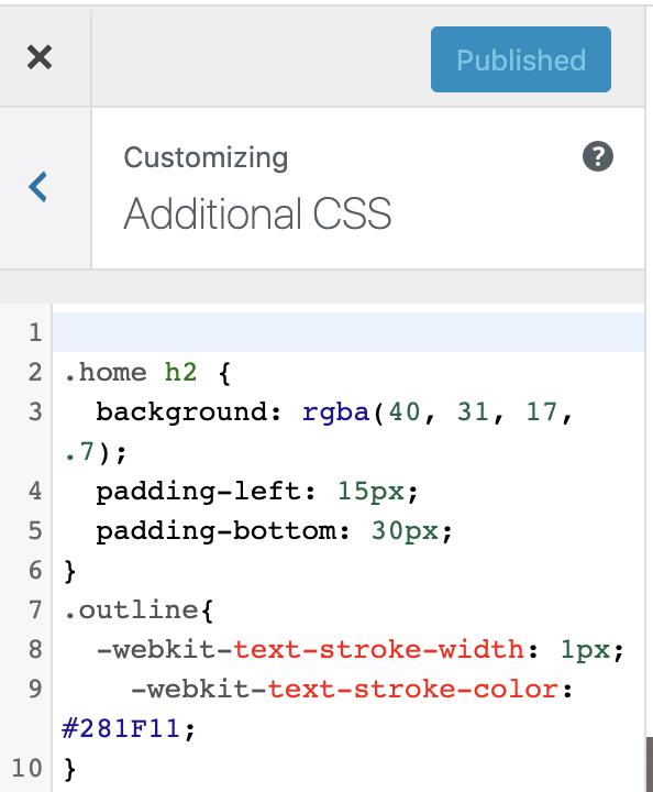 Customizing additional CSS