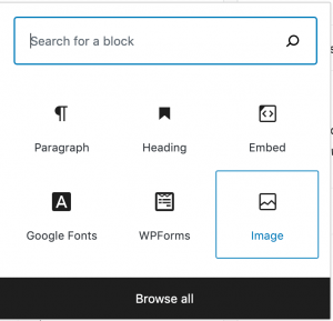 """search for a block interface,""""image"""" selected"""