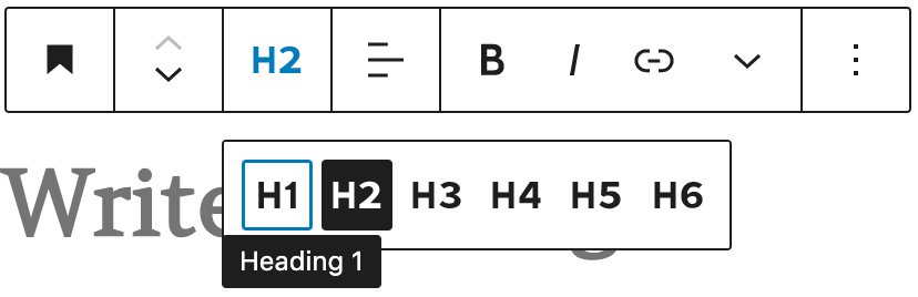 H1 is selected in the heading block