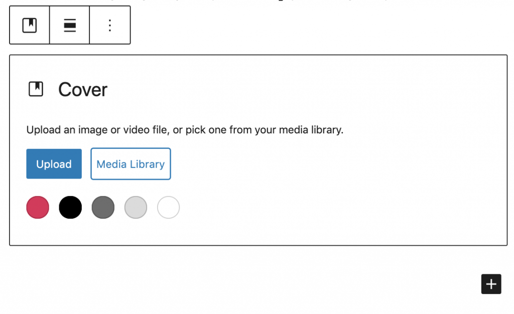 Cover - upload an image or video file, or pick one from your media library