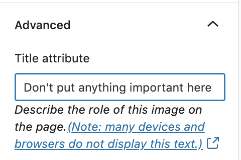 """Advanced > title attribute. """"don't put anything important here""""."""