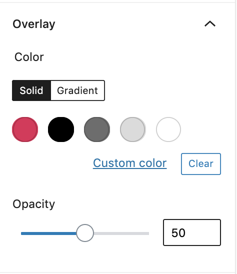 choose overlay colour and opacity