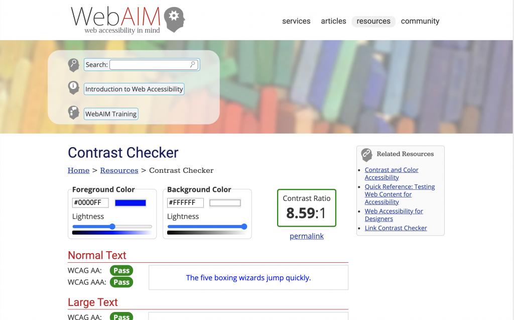 WebAIM contrast checker
