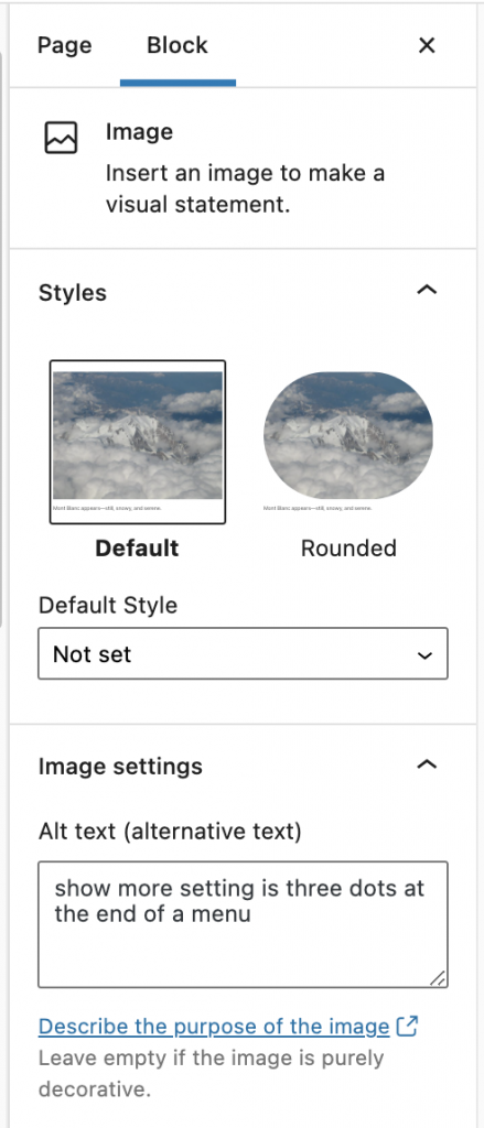 Block settings include - insert an image - image style - a spot to add alt text - image size - image dimensions in pixels - advanced options