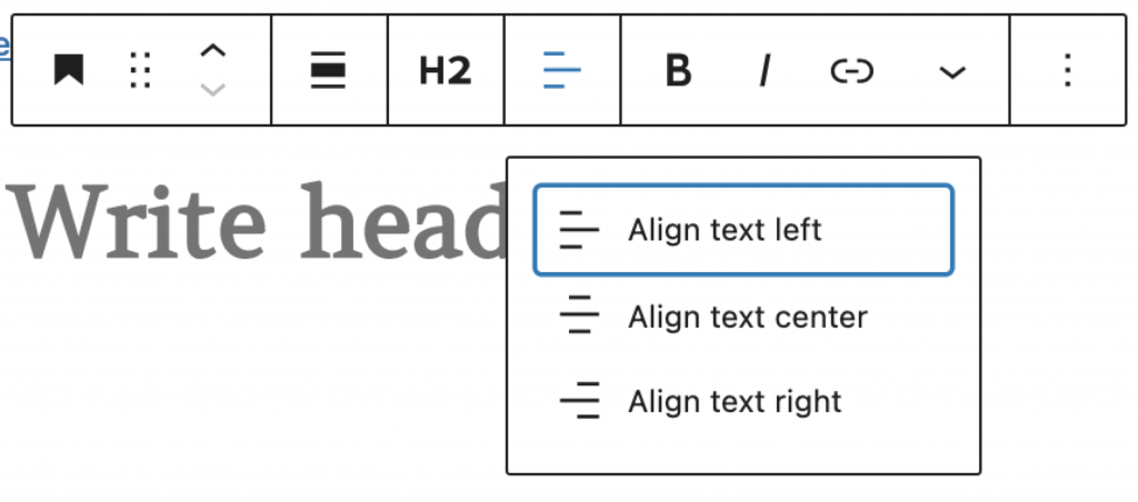 H2 selected with options to align text left, center, and right