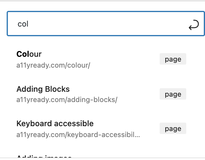 """start to type """"col"""" and see search results"""